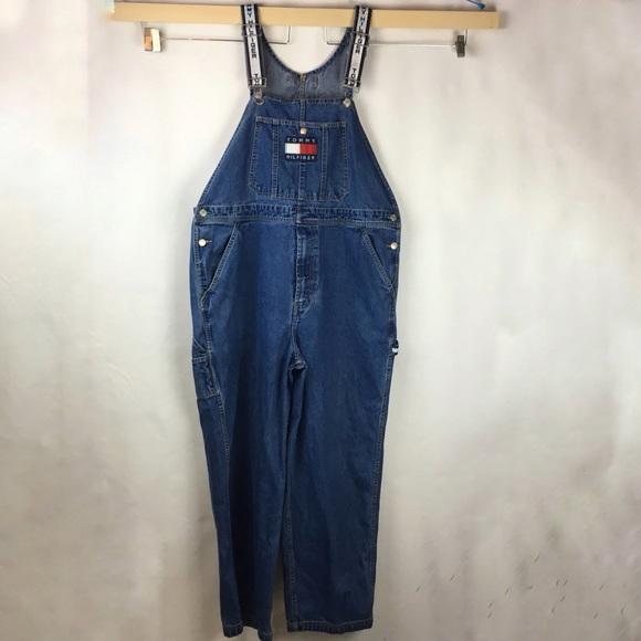 8687d4f6 Tommy Hilfiger Jeans | Vtg Overalls Size L Spell Out | Poshmark